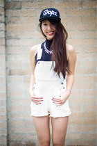 denim vintage romper - Dope Couture hat - Bella Vi necklace