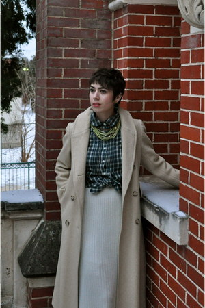 thrifted coat - thrifted skirt - Gap blouse - vintage necklace