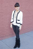 black  white Forever 21 sweater - Steve Madden boots - Loft jeans
