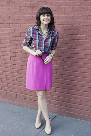 Thrifted Chanel skirt - plaid madewell shirt - Target sunglasses