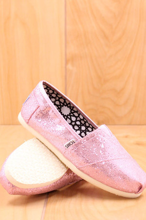 pink glitters TOMS shoes