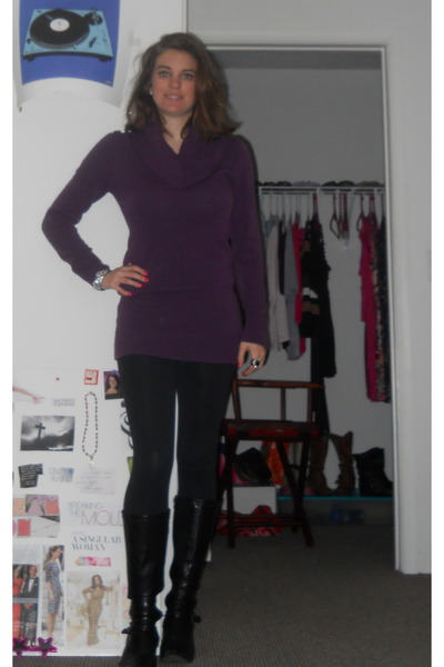 purple H&M sweater - Kmart boots - black Forever 21 leggings - Forever 21 ring