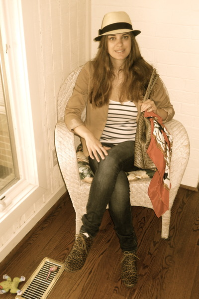 Hermes scarf - brogues Forever 21 shoes - skinny jeans American Eagle jeans