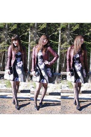 floral dress Forever 21 dress - Buffalo Exchange jacket - bullboxer flats