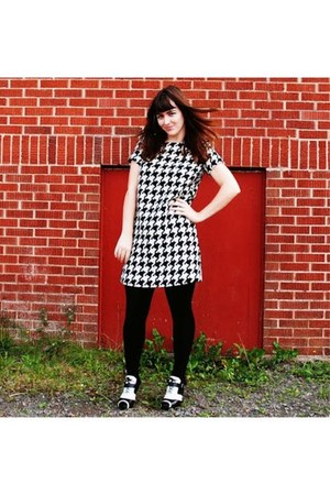 black black and white Aldo heels - white houndstooth joe fresh style dress