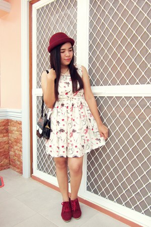 light pink wool OASAP hat - hot pink chiffon BangGood dress