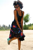 vintage from Ebay skirt - black American Apparel top - blue Jeffrey Campbell sho