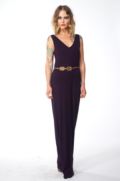 deep purple jersey Shona Joy dress - mustard vintage belt