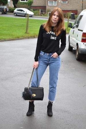 asos boots - Levis jeans - bella freud jumper