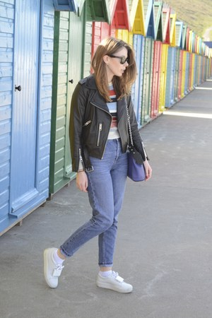 Topshop jeans - All Saints jacket - acne sneakers - Urban Outfitters t-shirt
