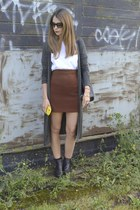 Primark bag - Topshop boots - vintage skirt - new look cardigan