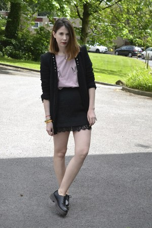 Zara blazer - Zara t-shirt - Topshop skirt