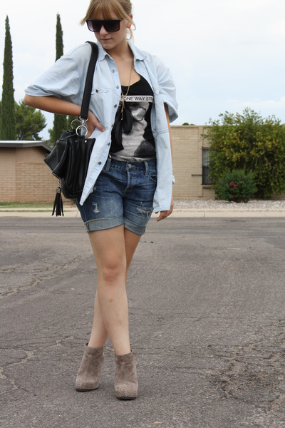 blue Levis shirt - black storetscom purse - black Love Culture shirt - brown aso