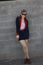 Blue-f21-jacket-red-vintage-belt-brown-f21-bag-blue-f21-skirt-brown-f21-
