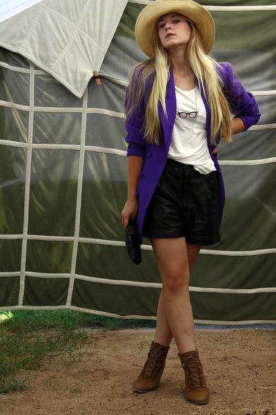 purple vintage blazer - brown wedge Zara shoes - black vintage purse