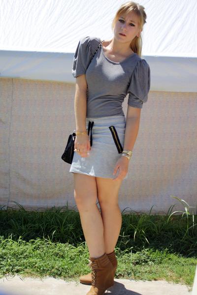 gray H&M skirt - gray dress - brown Zara shoes