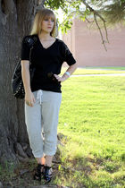 gray f21 pants - black f21 shirt - silver fashionology