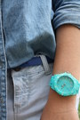 White-vans-shoes-blue-forever21-shirt-aquamarine-target-watch