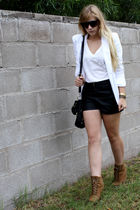 black f21 shorts - white Express blazer - black f21