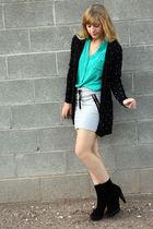 green Forever21 blouse - black H&M cardigan - gray H&M skirt