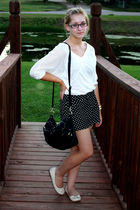black H&M shorts - white Forever 21 - black Forever 21 purse