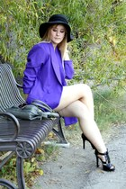 purple vintage blazer - black Dillards shoes - black Somewhere in Tennessee hat