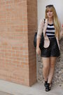 Black-dillards-shoes-black-vintage-shorts-beige-h-m-blazer-asos-sunglasses