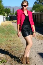 pink Ebay blazer - black f21 shorts - brown f21