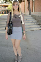f21 blouse - brown Primark purse - asos