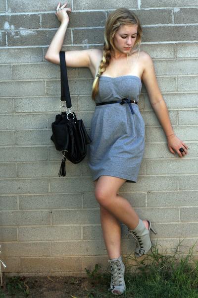 gray f21 dress - gray f21 shoes - black storets bag