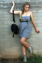 gray f21 dress - gray f21 shoes - black storets bag