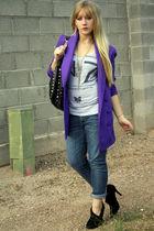purple vintage blazer - black Forever21 shoes