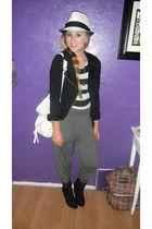 gray f21 pants - black f21 shoes - black f21 shirt - white Love Culture hat - wh