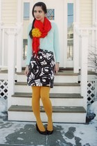 mustard Urban Outfitters tights - red NYC street vendor scarf - aquamarine Urban