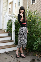 off white leopard H&M dress - black Jcrew cardigan - red H&M belt