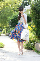 blue Anthropologie skirt - off white Swapaholics bag - silver Jcrew cardigan