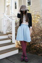 light blue Anthropologie skirt - camel Urban Outfitters hat