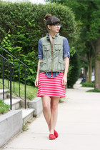 red TOMS shoes - red Old Navy dress - blue Old Navy shirt