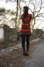 Orange-dress-black-express-tights-dark-brown-madden-girl-wedges