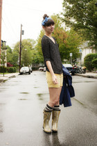 camel Target boots - navy BB Dakota coat - black Urban Outfitters sweater - ligh