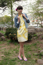 yellow dress - blue H&M jacket - purple Irregular Choice flats - magenta hair pi