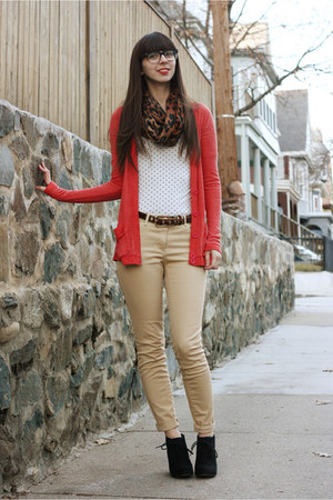 red diy-ed tailored cardigan - black fabric scrap boots