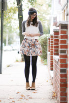 burnt orange Forever21 skirt - light brown Boutique9 boots