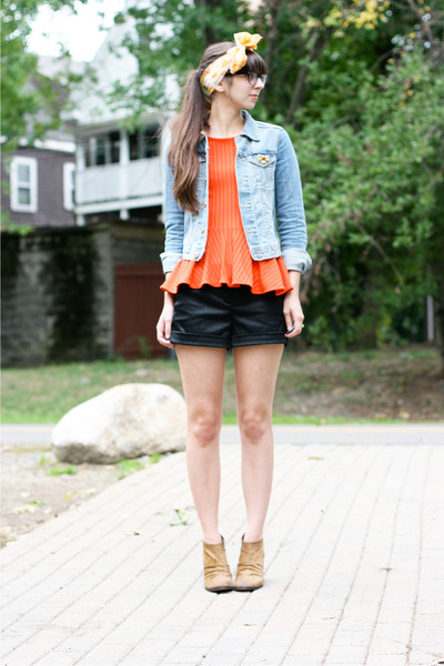 carrot orange H&amp;M shirt - brown Boutique 9 boots - blue H&amp;M jacket