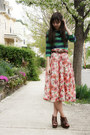 Pink-skirt-green-h-m-t-shirt-dark-brown-leopard-express-belt-dark-brown-ma