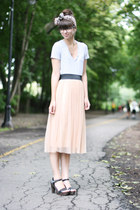 peach Urban Outfitters skirt - tan thrifted scarf - black Forever 21 heels
