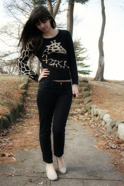 black H&M sweater - black Gap pants - beige Blowfish flats