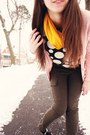 Mustard-target-scarf-black-polka-dot-handmade-top-pink-victorias-secret-card