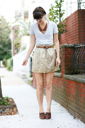 camel Jcrew skirt - brown big buddha shoes - heather gray Gap t-shirt