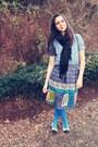 Blue-forever-21-shirt-violet-anthropologie-skirt-blue-tights-white-chanel-